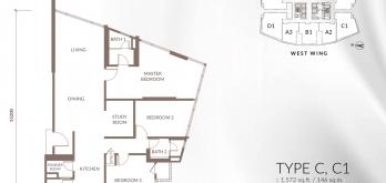 sapphire-paradigm-layout-plan-floor-plan-a-a1-a2-a3-3-bed-1-study-2-bath